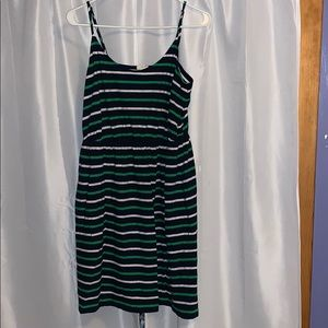 J Crew Shoreline-Stripe Dress Navy/Green L